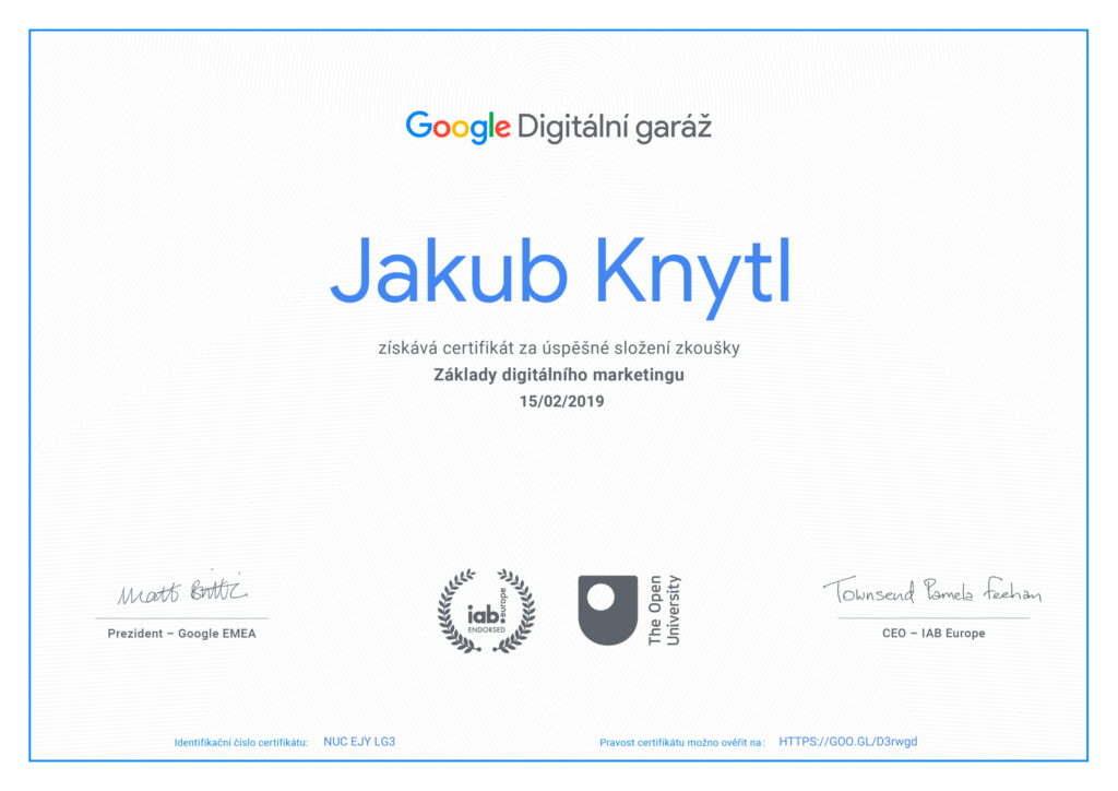 Základy digitálního marketingu Google Digirální garáž