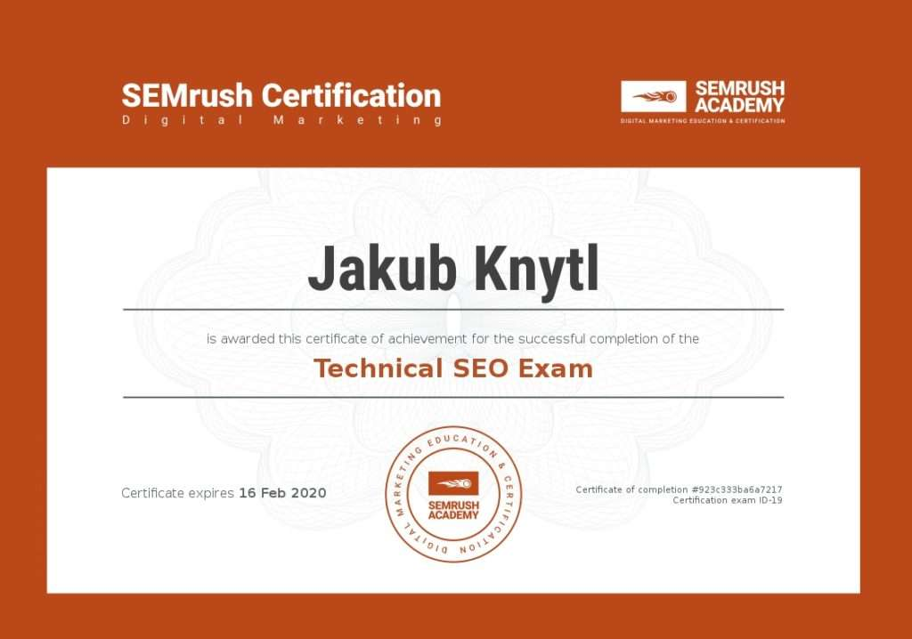 SEMrush Technical SEO certifikát